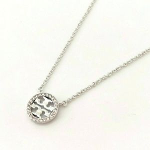 Tory Burch Silver Crystal Logo Pendant Necklace